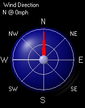 Wind Direction.  Speed Indicated By Yellow Dots-Center=0; Outside Ring=25 MPH